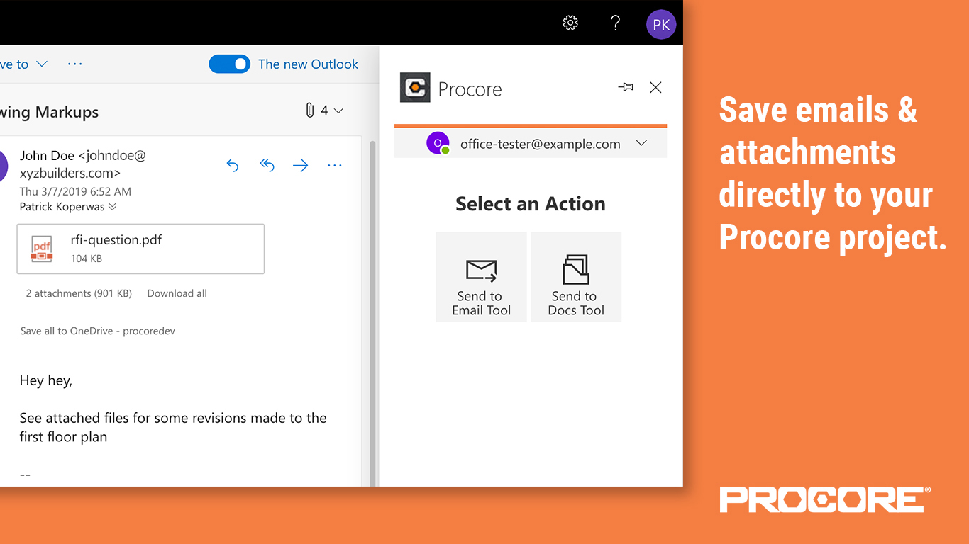 Procore for Outlook Email Forward